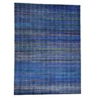 Grass and Oidized Hand-Knotted Navy Blue Area Rug