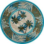 Kolb Frond Blue/Green Area Rug Rug Size: Round 5'3