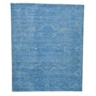 One-of-a-Kind Kennard Vintage Overdyed Khotan Hand-Knotted Sky Blue Area Rug