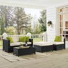 Kaczor 5 Piece Rattan Conversation Set with Cushions Frame Finish: Black