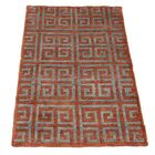 One-of-a-Kind Woods Geometric Oriental Hand-Knotted Silk Area Rug