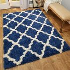 Burns Trellis Blue/White Area Rug Rug Size: Rectangle 6'7