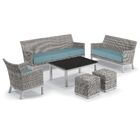 Linndale 6 Piece Rattan Conversation Set with Cushions Table Top Color: Lite-Core Charcoal, Cushion Color: Ice Blue