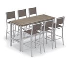 Maclin 7 Piece Bar Height Dining Set Accessory Color: Cocoa Sling, Color: Gray