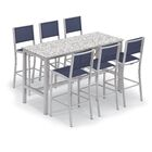 Travira 7 Piece Bar Height Dining Set Color: Lite-Core Ash, Accessory Color: Ink Pen Sling