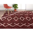 Olszewski Handmade Shag Faux Fur Maroon/White Area Rug Rug Size: Rectangle 5'3