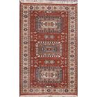 Pipkin Kazak Indian Traditional Oriental Hand-Knotted Wool Red/Burgundy Area Rug