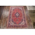 One-of-a-Kind Kashan Persian Hand-Knotted 8' x 12' Wool Red/Ivory/Purple Area Rug