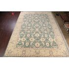 Coppinger Oushak Ushak Oriental Hand-Knotted Wool Beige/Green Area Rug