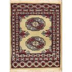 Barberton Bokhara Oriental Hand-Knotted Wool Burgundy/Ivory Area Rug
