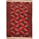 One-of-a-Kind Traditional Geometric Bokara Turkoman Persian Hand-Knotted 3'2
