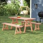 Vestal Pine Picnic Table with 2 Benches Finish: Unfinished