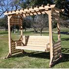 Donath Cedar Arbor Porch Swing with Stand Finish: Stained Cedar, Size: 82