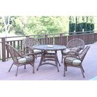 Mangum 5 Piece Dining Set with Cushions Color (Frame): Honey, Cushion Color: Tan