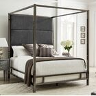Weymouth Upholstered�Canopy Bed Color: Dark Gray/Black Nickel, Size: Full