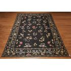One-of-a-Kind Genevra Needlepoint Aubusson Hand-Woven Green/Black Area Rug
