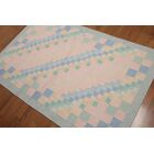 One-of-a-Kind Brank Dhurry Kilim Reversible Hand-Woven Pink/Blue Area Rug
