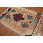 One-of-a-Kind Birdsview Dhurry Kilim Reversible Hand-Woven Orange/Blue Area Rug