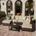 Kopec 5 Piece Rattan Sunbrella Sectional Set