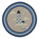 Wieland Maritime Lighthouse Hand-Braided Blue Area Rug Rug Size: Round 5'