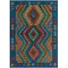 One-of-a-Kind Renita Kilim Hand-Woven Wool Blue/Gray Area Rug