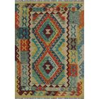 One-of-a-Kind Renita Kilim Hand-Woven Wool Blue/Yellow Area Rug