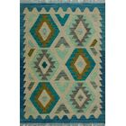 One-of-a-Kind Renita Kilim Hand-woven Wool Ivory/Blue Area Rug