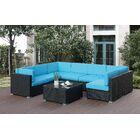 Lympsham 8 Piece Sectional Set Cushion Color: Sky Blue