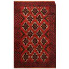 One-of-a-Kind Pressnell Balouchi Hand-Knotted Wool Red/Navy Area Rug
