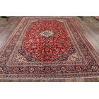 One-of-a-Kind Kashan Medallion Persian Hand-Knotted 8' x 11' Wool Red/Burgundy/Blue Area Rug