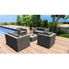 District 5 Piece Double Sofa Set with Cushions Fabric: Charcoal