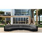 Urbana 3 Piece Extended Curved Sectional Set with Cushions Fabric: Charcoal