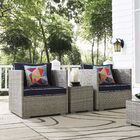Heinrich 3 Piece Conversation Set with Cushions Cushion Color: Navy