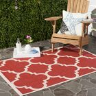 Short Red/Beige Indoor/Outdoor Area Rug Rug Size: Rectangle 5'3