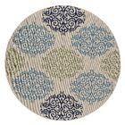 Keeble Beautiful Scroll Motif Green/Gray Indoor/Outdoor Area Rug Rug Size: Round 6'6
