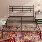 Steel Platform Bed Frame with Finial D�cor Knobs Size: Queen, Color: Black
