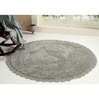 Wininger Round Crochet Designer Plush Cotton Rug (60 inches, Grey)