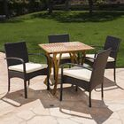 Gipson Outdoor Acacia Wood/Wicker 5 Piece Dining Set with Cushions