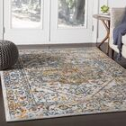Parramore Oriental Saffron/Blue Area Rug Rug Size: Rectangle 9'3