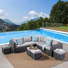 Jefcoat Outdoor 9 Piece Rattan Sectional Set with Cushions Frame Finish: Brown, Cushion Color: Beige