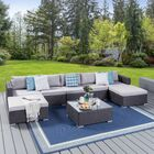 Dierking 8 Piece Rattan Sectional Seating Group with Cushion Frame Finish: Gray, Cushion Color: Silver