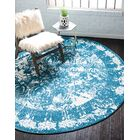 Hartell Blue Area Rug Rug Size: Round 8'