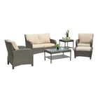 Gomer 6 Piece Rattan Sofa Seating Group with Cushions