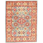 Kazak Design Lamb's Hand-Knotted Wool Red/Blue Area Rug