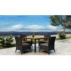 Aisha 5 Piece Dining Set with Sunbrella Cushion Cushion Color: Canvas Charcoal