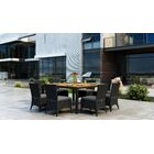 Aisha 9 Piece Dining Set with Sunbrella Cushion Cushion Color: Canvas Charcoal