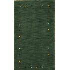 Seidman Indian Oriental Hand-Knotted Wool Green Area Rug