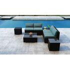 Glendale 7 Piece Sectional Set with Sunbrella Cushion Cushion Color: Cast Lagoon