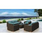 Glen Ellyn 5 Piece Sofa Set with Sunbrella Cushion Cushion Color: Cast Lagoon