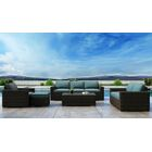 Glen Ellyn 5 Piece Sofa Set with Sunbrella Cushion Cushion Color: Cast Lagoon